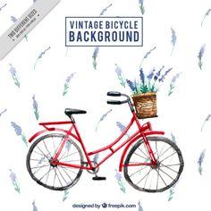 Aguarela da bicicleta do vintage com fundo lavander Vetor grátis
