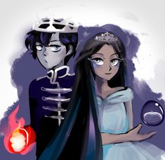 King Maven Calore and his new Queen, Iris Cygnet, Princess of the Lakelands Fanart, Red Queen Book Series, Red Queen Victoria Aveyard, Glass Sword, King Cage, Queen Drawing, Queen Art, Fictional World, Cool Animations