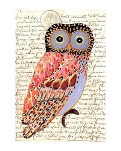 Whimsical Owl painting archival print. $20.00, via Etsy.