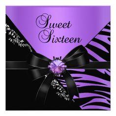 Sweet Sixteen Sweet 16 Zebra Purple Black Jewel Personalized Invitations