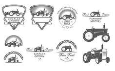 Retro tractor logos set by 1baranov on @creativemarket