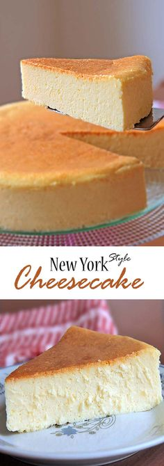 New York Style Cheesecake is creamy smooth, lightly sweet, with a touch of lemon. You have to allow it to cool properly before you cut it. Delightful. #cheesecake #newyork