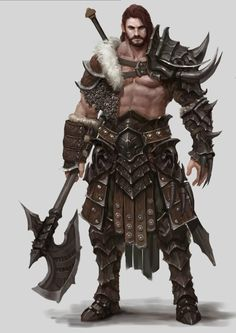 Berserker armed and ready for a fight (RPG concept) Fantasy Male, Fantasy Armor, Medieval Fantasy, Dnd Characters, Fantasy Characters, Fantasy Inspiration, Character Inspiration, Game Character, Character Concept