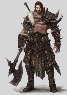 Bárbaro com armadura de couro de dragão