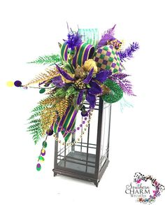 Mardi Gras Lantern Swag Fat Tuesday by SouthernCharmWreaths