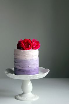 Purple ombre cake with blackberry compote - who knows how it would taste it's just pretty :)