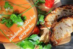 Gazpacho-letní studená polévka z čerstvé zeleniny, stačí jen umixovat a vychladit! Gazpacho, Bagel, Avocado Toast, Menu, Bread, Breakfast, Food, Menu Board Design, Morning Coffee