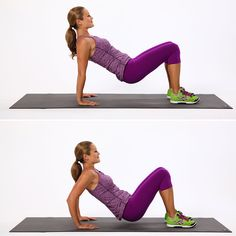 Triceps dips are a simple way to tone shoulders and upper arms, but while the move seems basic, it can be easy to do it incorrectly. Make sure you aren't rolling your shoulders forward, and don't just lift and lower your butt; focus on bending your elbows and strengthening your arms to ensure you're focusing on your triceps. Find out how to do a triceps dip here.  Source: POPSUGAR Studios