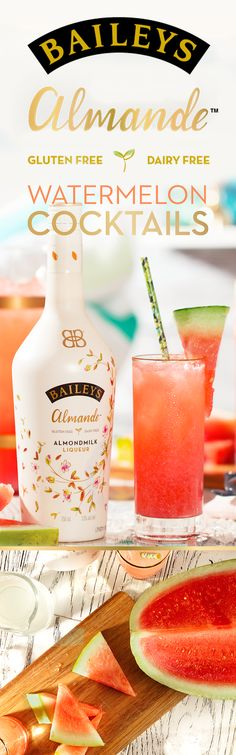 Indulge this weekend with Watermelon Cocktails. This refreshing-tasting recipe is dairy free, gluten free, and vegan! To make for you and 3 friends, simply blend 8 oz. Baileys Almande, 6 oz. Watermelon Juice, 2 oz. Coconut Water, and 2 cups of ice. Top it off with a Watermelon Slice garnish and enjoy!