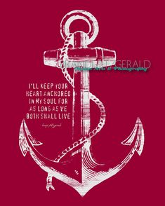 "Anchored In Happily Ever After. 8"" x 10"" Marriage Anchor Quote Fusion Paintographic Fine Art Print by Brandi Fitzgerald. $20.00, via Etsy."
