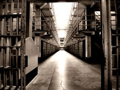 """""""Broadway"""" Main Cellblock. The corridors were regularly patrolled by the guards, with passing gates along them; the most heavily trafficked was """"Broadway"""" between B and C Block, due to its being the central corridor of the prison and passed not only by guards but other prison workers."""