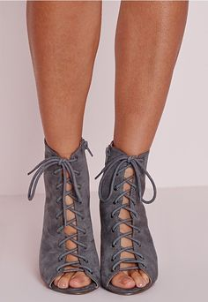 Lace Up Heeled Boots Grey. Order today & shop it like it's hot at  Missguided.