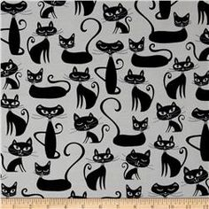 Kaufman Whiskers & Tails Cats Allover White
