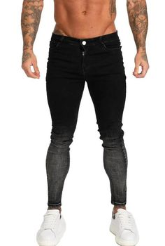 Non Ripped Spray On Jeans - Faded Black Skinny Fit High Waist Knee Ripped Stretch Denim Zipper Closure Machine Wash Cotton, Polyester, Elastane Model: wearing size 32 Black Skinnies, Black Jeans, Spray On Jeans, Isle Of Man, Stretch Denim, Skinny Fit, Fitness, Model, Cotton