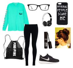 """Cozy plane ride ✈️✈️"" by otakuforever ❤ liked on Polyvore featuring Victoria's Secret, NIKE, Ray-Ban and Beats by Dr. Dre"