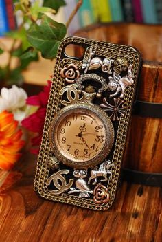 Custom Handmade Vintage iPhone Case iPhone 4 Case iPhone 4S Case iPhone 5 Case iPhone Cover Hard Antique Brass Clock Cell phone Case. $28.99, via Etsy.
