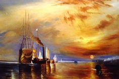 """William Turner 1775 - 1851, The old battle ship """"the fighting temeraire"""" tugged to her last berth / distruction."""