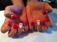 Red & White Valentines Gel Nails