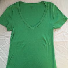 J. Crew fitted v-neck tee Emerald green fitted v-neck tee, 100% cotton J. Crew Tops Tees - Short Sleeve