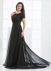 Vestido de noche negro de gasa con escote redondo de línea A hasta el suelo