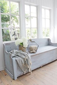 another great bench for your mudroom Decor, Furniture, White Cottage, Shabby Chic Cottage, Home Additions, Vintage House, Home Decor, Cottage Interiors, Decorating Your Home