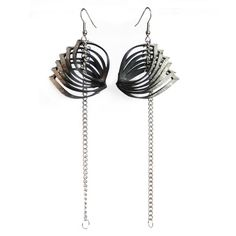 Gently fanned rubber slices are the focal point of this pair of earrings. The tips are finished with a subtle fine white finish. Ear wires are surgical steel. The entire length of the earring including stainless steel chain is approx Funky Earrings, Drop Earrings, Jewelry Design, Unique Jewelry, Stainless Steel Chain, Leather Jewelry, Oysters, Jewelry Collection, Jewelry Making