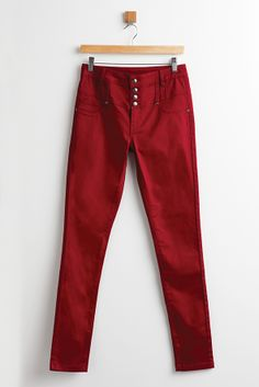 Button-through trousers in berry shades. Shop online at www.truworths.co.za