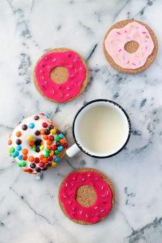 Celebrate National Donut Day with this cute and simple donut coasters DIY using cork and felt! | Squirrelly Minds