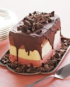 Make This Pretty Party Dessert In Minutes   — Martha Stewart Genius idea - take a carton of ice cream, remove the box, refreeze it on a plate and drizzle with melted chocolate. instant ice cream cake