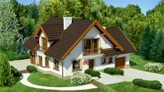 Wizualizacja Dom przy Pomarańczowej 2 CE Most Visited, Home Fashion, House Plans, Community, Exterior, House Design, Cabin, How To Plan, Mansions