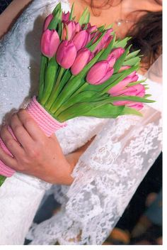 #bridal#bouquet#tulips Tulip Bridal Bouquet, Bridal Bouquets, Pink Tulips, Planting Flowers, Lily, Color, Wedding Bouquets, French Tulip Bridal Bouquet, Colour