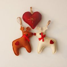 Reindeer Christmas Decorations rudolph red by ButtonOwlBoutique, £4.00