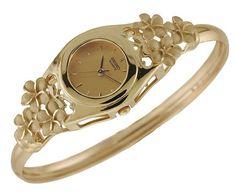 14k Gold Hawaiian Heirloom Jewelry Ladies Flower Watch from Hawaii