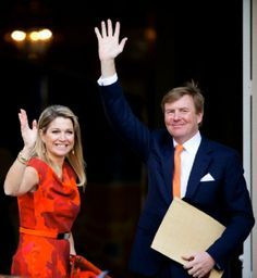 King Willem-Alexander and Queen Maxima of The Netherlands pose as they welcome the Olympic medal winners at Palace Noordeinde in The Hague, The Netherlands, 25.02.2014.