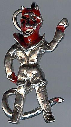 VINTAGE STERLING SILVER RED ENAMEL 3D DEVIL CHARM