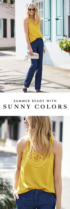 Amy Jackson brightens up Banana Republic's dark denim and the sidewalk in a sunny yellow, lace-detailed tank. This gorgeous color gives your wardrobe a jolt for festival season, weekends or layered under a suit for work. Amy wears this shade with perfect shades. Shop this tank now.