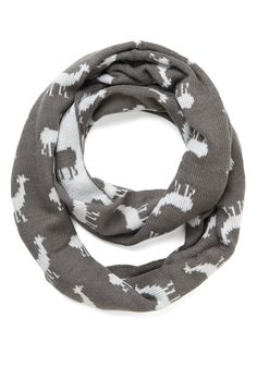 Llama Said Deck You Out Scarf. When it comes to accessorizing, you fancy yourself a layering connoisseur, and this unique scarf provides just the dash of quirky charm you adore. #grey #modcloth