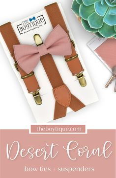 Planning a desert coral wedding? Our beautiful bow tie and suspenders are just what you've been looking for! The perfect shade of desert coral to match your dream wedding color scheme. Put the finishing touches on your groomsman attire and ring bearer outfit with our range. #desertcoralbowtie #desertcoralwedding #bowtieandsuspenders #weddingaccessories #weddingattire #wedding #weddingplanning Grey Suspenders, Leather Suspenders, Groomsmen Outfits, Groom And Groomsmen Attire, Wedding Ring For Her, Dream Wedding, Suspender Clips, Ring Bearer Outfit, Bow Tie Collar