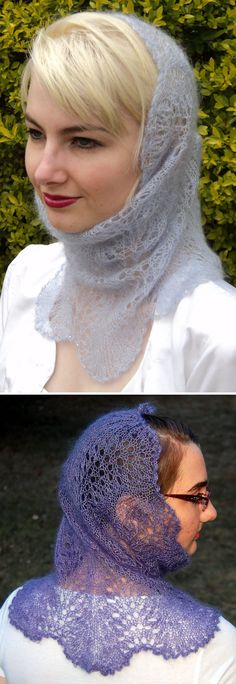 Free Knitting Pattern for Ice Queen Cowl Hood - An exquisite lace cowl using a simple feather and fan pattern with shaping incorporated into the lace. Two options with on using garter stitch and one using stockinette. Instructions for optional beading. Designed by Rosemary (Romi) Hill. Pictured projects by LeStyleophile and debcelley.