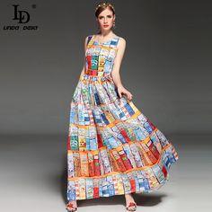 New Fashion Women's Sleeveless Summer Casual Bohemian Beach Printed Dress Brand Long Maxi Dress