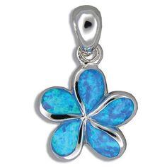 Sterling Silver Hawaiian Jewelry Plumeria Flower Blue Opal Pendant Hawaiian Heirloom Jewelry