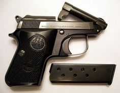 Though the Beretta 950 Jetline will never see the spotlight, as a back up gun it really shines. It's a true pocket pistol. 32 Acp, Pocket Pistol, 22 Pistol, Military Guns, Guns And Ammo, Self Defense, Cool Items, Firearms, Hand Guns