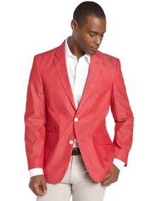 Tommy Hilfiger red cotton chambray 2-button blazer