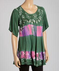 Green & Fuchsia Embroidered Tie-Dye Scoop Neck Tunic - Women