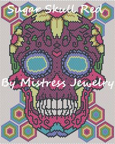 Sugar Skull Red Word Map & Chart | Bead-Patterns