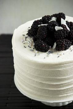 Blackberry, Coconut, Lime and Macadamia Cake