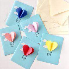 Heart Hot Air Balloon Card Sky Blue