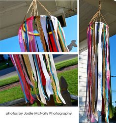 March winds beg for a ribbon windsock! Easy to make, and the size is determined by the diameter of the ring (or hoop) and the length of the ribbons.
