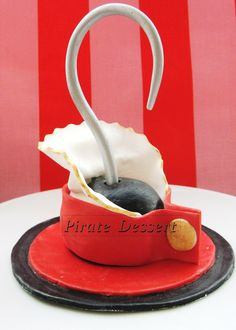 Edible Pirate CAKE TOPPER Captain Hook Pirate hook  -  Fondant cake topper, Peter Pan - Neverland - Pirate cake decoration (1 pieces). $30.00, via Etsy.