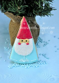 for robin and bruce   Christmas Gnome Cookies.,,,love the aqua and red color combination!